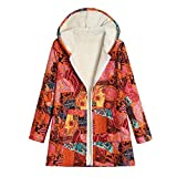 Lazzboy Coat Jacket Parka Womens Graffiti Striped Fleece Lining Ethnic Vintage Warm Hooded UK 10-20 Oversized Plus Size(4XL(18),Orange-Graffiti)