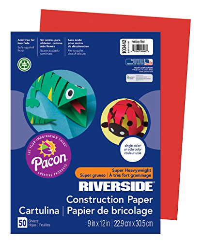 PAC103442 - Pacon Riverside Construction Paper (Holiday Red) (50 sheets)