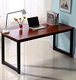 Writing Desk 55in Large Study Computer Desk Workstation for Home Office Desk Teak+black leg