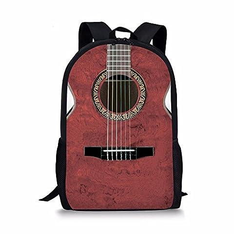 Children Student School Backpack Knapsack Vintage Red Guitar Printed FOR U DESIGNS (Traveler Guitar Custom)