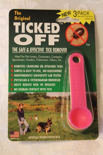 The Original Ticked Off Tick Remover Three (3) Pack White Orange Pink with Key Hole family, My Pet Supplies