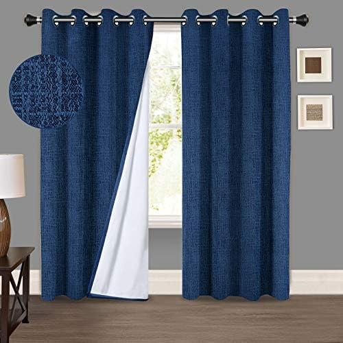 PANDATEX 100 Blackout Window Curtains Textured Faux Linen Curtains