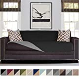 Sofa Shield Original Patent Pending Reversible Oversize Sofa Slipcover, Dogs, 2' Strap/Hook, Seat Width Up to 78', Furniture Protector Washable, Couch Slip Cover Throw for Pets, Kids (Black/Gray)
