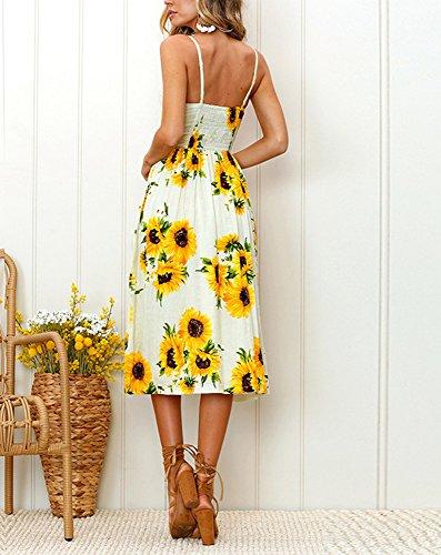 Down Dress Bewish Front Dress jh00165 Midi Pockets with Beige Summer Floral Print Button Spaghetti Stripe Strap ppfwzqSFx