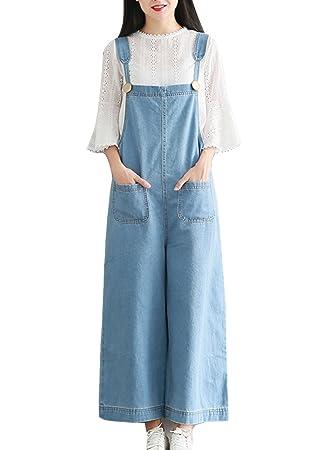 Mujer Chicas Peto Vaquero Mono Jeans Pantalones Anchos Largo Casual Elegante Fiesta
