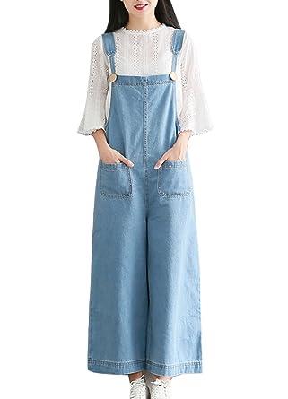 7d42e78d02a0 Womens Vintage Baggy Dungarees Belt Jeans Jumpsuits Overalls Loose Leisure  Trousers Bib Pants Wide Leg Long Ankle Pants Plus Size Light Blue 5XL  ...