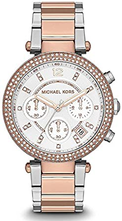 fafe91f45cd8 Image Unavailable. Image not available for. Color  Michael Kors Ladies Two-Tone  Rose Gold Chronograph Date Watch MK5820