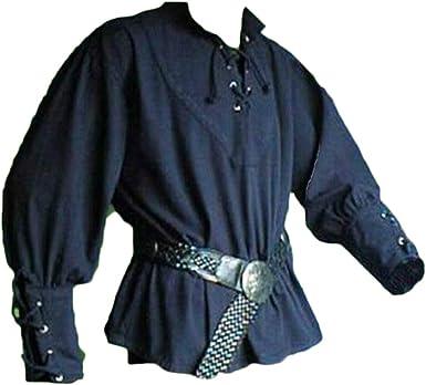 Camisa De Manga Larga Cuello En V Pirate Tunica Renaissance Gótico Medieval para Hombres: Amazon.es: Ropa y accesorios