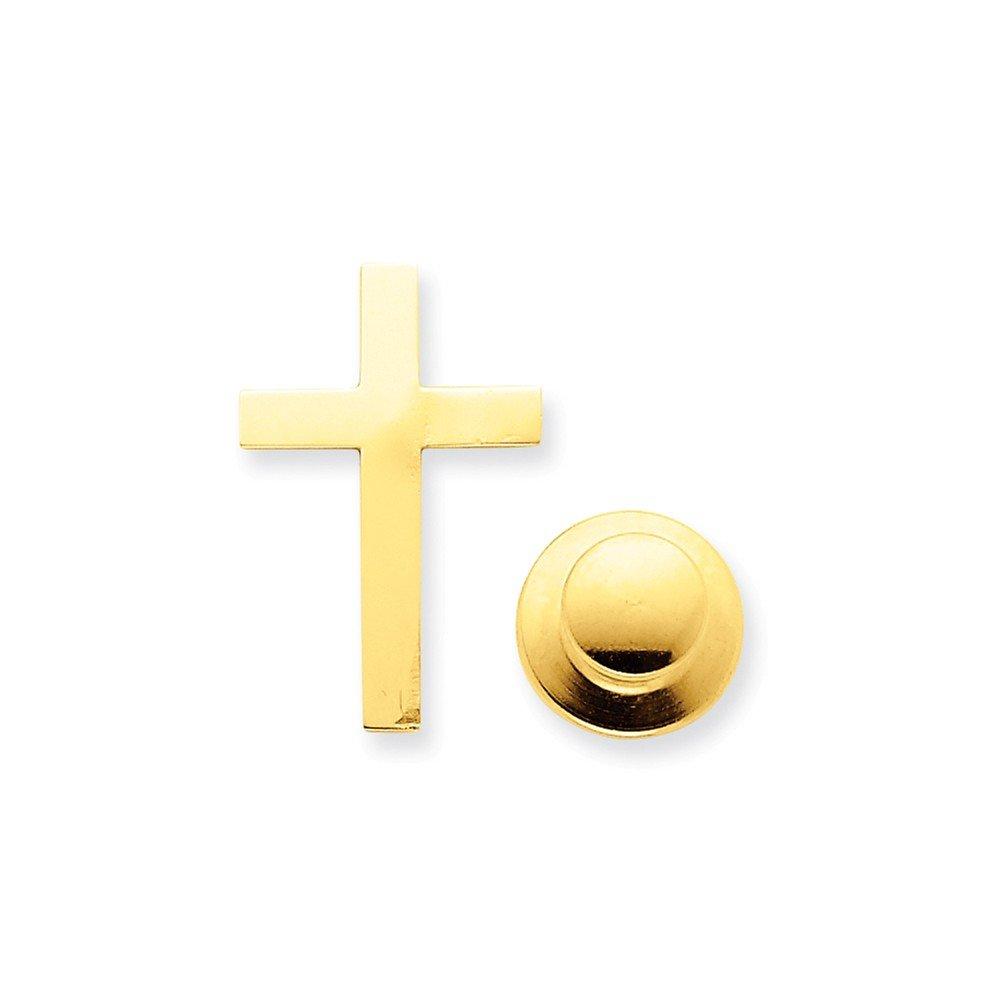 14K Yellow Gold Cross Tie Tac