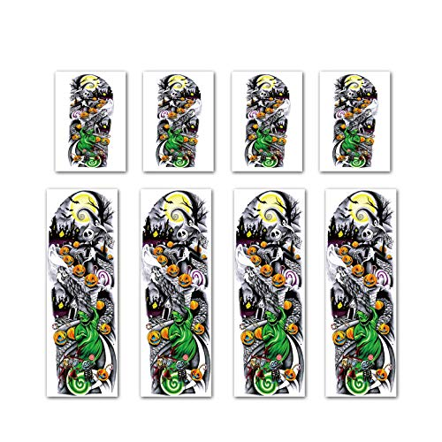 Leoars Nightmare Before Christmas Temporary Sleeve Tattoos, 4-Sheet Large Full Arm Sleeve Tattoos and 4-Sheet Fake Half Arm Tattoos for Halloween Outfit