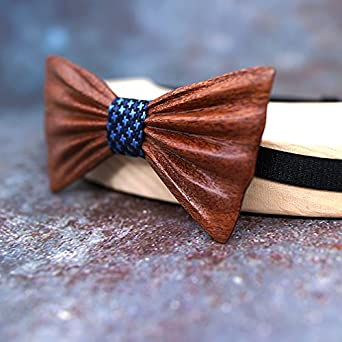 Mahoosive Men's 3D Handmade Wooden Bow Tie, Pocket Square, Cufflinks Set