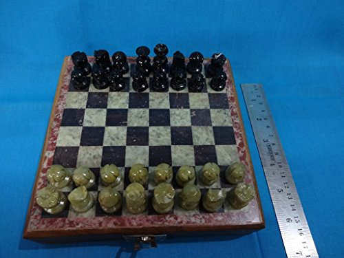 Classic Chess Indian Wood Board Game USA Wooden Chess Set Marble Soft Stone 6″inch Size 6″ X 6″ inch Quantity : 1