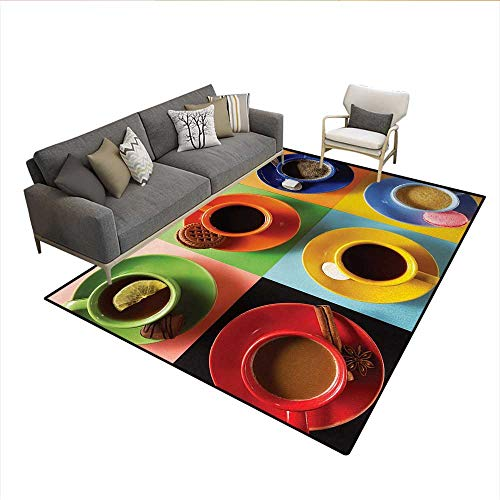 Carpet,Cups of Coffee Tea Hot Chocolate on Colorful Background with Tasty Deserts Biscuits,Print Area Rug,MulticolorSize:6'x7'