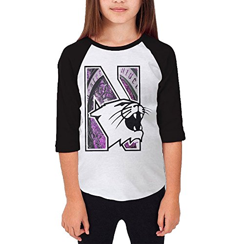 Price comparison product image Amone Young Girl Round Collar Raglan Northwestern Wildcat T-shirt Black S