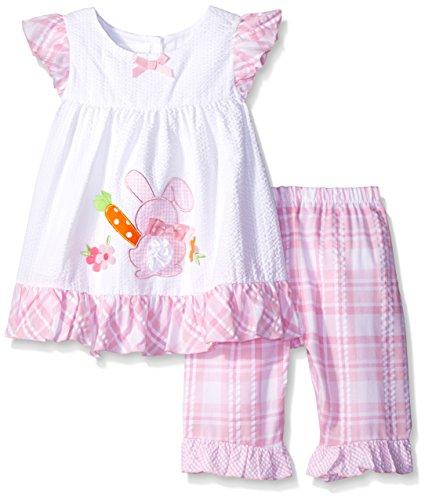 Bonnie Jean Girls' Bunny Appliqued Seersucker Playwear Set, Pink, -