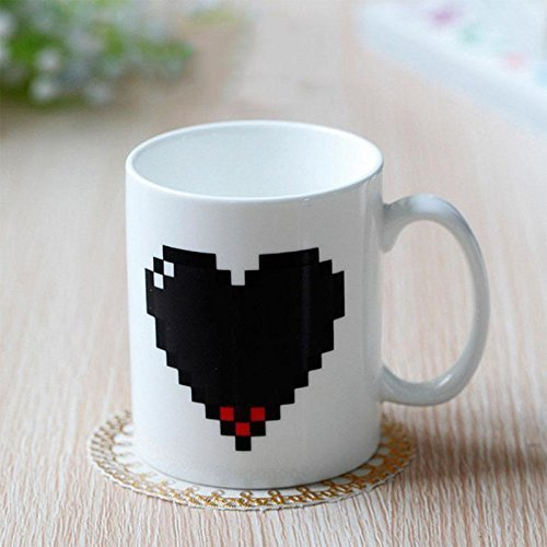 Magic Coffee Mug Heat Sensitive Tea Cup Pixel Heart Morphing Coffee & Beverage Heat Sensitive Color Changing Mug,Great Gift for Morning Coffee Tea