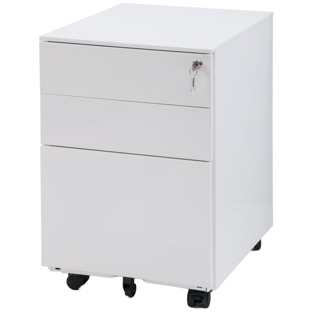 Meritline 3 Drawer Mobile Metal Lockable Lateral File Cabinet, Under Desk File Cabinet Fully Assembled Except for 5 Castors (White) by Meritline
