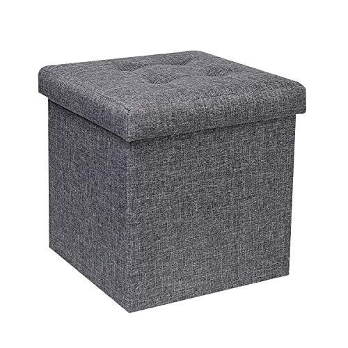 B FSOBEIIALEO Storage Ottoman Cube, Toy Chest Folding Footrest Stool Seat, 12.6