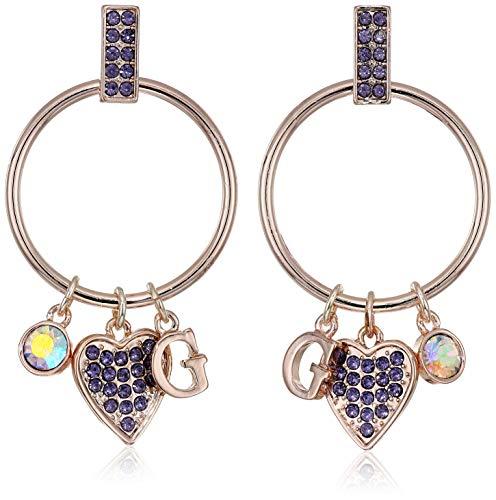 GUESS Women's Gypsy Hoop Earrings with Logo, Rose Gold, One - Earring Guess Womens