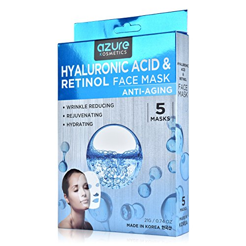 Hyaluronic Acid Face Mask (Hyaluronic Acid and Retinol Anti-Aging Face Mask by Azure - Helps Reduce Fine Lines and Wrinkles | Leaves Skin Feeling Soft and Hydrated | Improves Uneven Skin Tone - 5 Pack)
