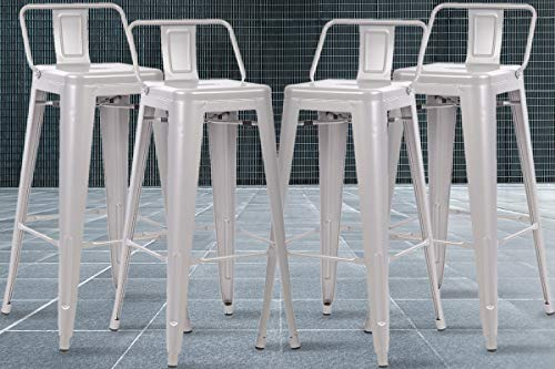 Industrial Bar Stools Metal Chairs Set of 4 Counter Height Barstools 30 Inches Dining Tolix-Style Trattoria Modern Patio Bar Stools with Back for Bistro Kitchen Pub Office Cafe,Silver