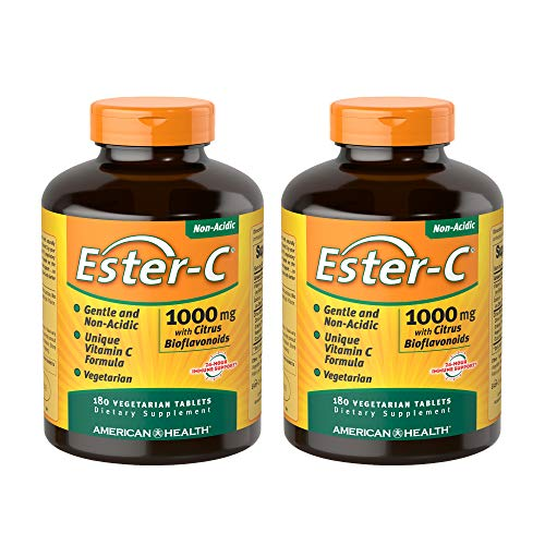 American Health Ester-C with Citrus Bioflavonoids Vegetarian Tablets (2 Pack) - 24-Hour Immune Support, Gentle On Stomach, Non-Acidic Vitamin C - 1000 mg, 180 Count, 360 Total Servings