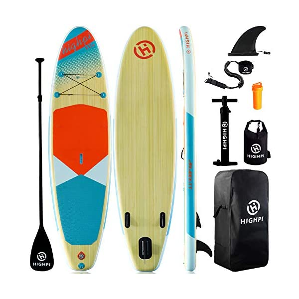 Highpi-Inflatable-Stand-Up-Paddle-Board-11x33x6W-Premium-SUP-Accessories-Backpack-Wide-Stance-Surf-Control-Non-Slip-Deck-Leash-Paddle-and-Pump-Standing-Boat-for-Youth-Adult
