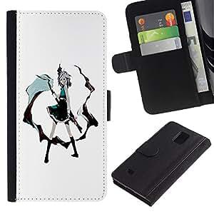 Paccase / Billetera de Cuero Caso del tirón Titular de la tarjeta Carcasa Funda para - Sexy Girl - Samsung Galaxy Note 4 SM-N910
