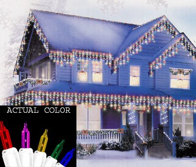 Set of 100 Multi Twinkling Icicle Christmas Lights - White Wire -