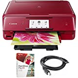 Canon PIXMA wireless Color Photo Printer with Scanner & Copier 4.3 Red (1369C042) with Corel Paint Shop Pro X9 Digital Download & High Speed 6-foot USB Printer Cable