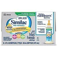 Fórmula para bebés Similac Pro-Advance con 2'-FL HMO para apoyo inmune, listo para alimentar botellas para recién nacidos, 2 fl oz (48 conteos)