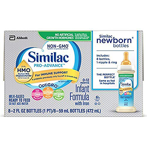 Similac Pro-Advance Infant Formula with 2'-FL HMO for Immune Support, Ready to Feed Newborn Bottles, 2 fl oz, (48 Count) (Difference Between Similac Advance And Go And Grow)