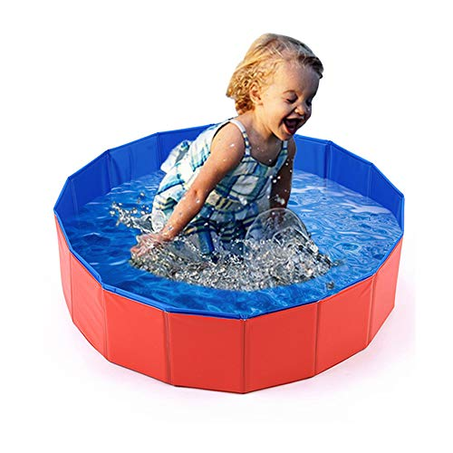 Mcgrady1xm Collapsible Pet Dog Bath Pool, Kiddie Pool Hard Plastic Foldable Bathing Tub PVC Outdoor Pools for Dogs Cat Kid (8030cm)]()