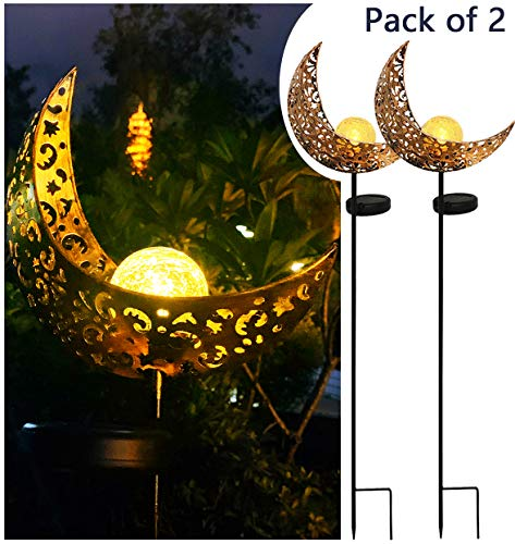 Solar Powered Garden Lights, 2 Pack Antique Brass Hollow-Carved Metal Moon with Warm White Crackle Glass Globe Stake Lights,Waterproof Outdoor for Lawn,Patio,Yard (Lighting Ideas Small Patio)