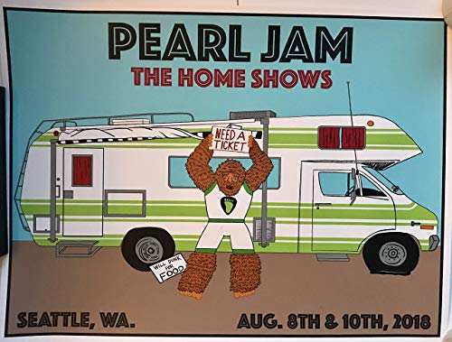 Seattle Concert Poster - Pearl jam seattle poster 2018 schuss safeco field mariners the home shows