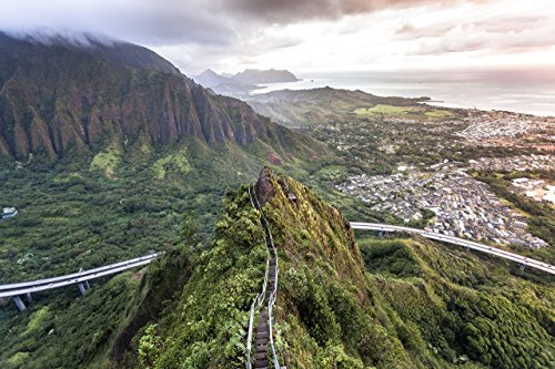 An aerial view of the Ko'olau mountain range & H-3 freeway at dawn from Haiku Stairs (''Stairway to Heaven'') hiking trail in Kaneohe, Oahu, Hawaii print picture photo photograph fine art by Mike Krzywonski Photography