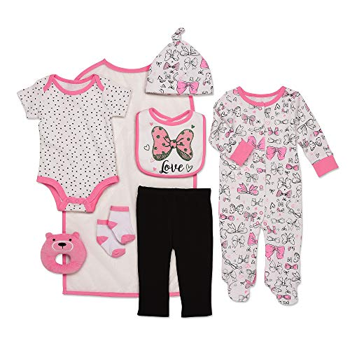 Mini B. by Baby Starters 9-Piece I Love Bows Layette Gift Set Bright Pink/White/Black 0-3 Months for Sleep & Play with Bodysuit, Pants, More