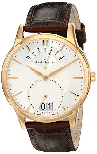 Claude Bernard Men's 34004 37R AIR Classic Gents Analog Display Swiss Quartz Brown Watch