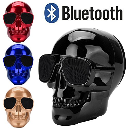 [Updated Version] Skull Wireless Speaker, LED Wireless Super Bass Stereo Sound Cool Skull Artwork Speaker with Wonderful Eyes Light for Home Party/Office/Business/Bedroom/Outdoor (Black) -