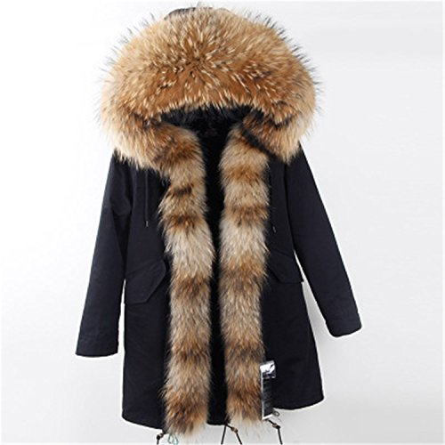 MASCHERANO Women Winter Jacket Long Parka Real Fur Coat Raccoon Fur Collar Hooded Thick Outerwear long 011 XL