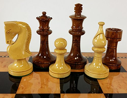 - Double Queens Sheesham Lacquered Staunton Wood Russian Knight Chess Men Set - NO Board