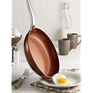 T-fal C4100564 Endura Copper Ceramic Nonstick Dishwasher Safe Cookware Fry Pan, 10-Inch, Copper