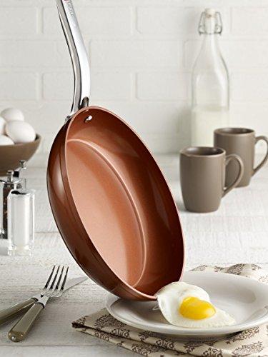 T-fal C4102S274 Endura Copper Ceramic Nonstick Dishwasher Safe Cookware Fry Pan, 2-Pack, Copper