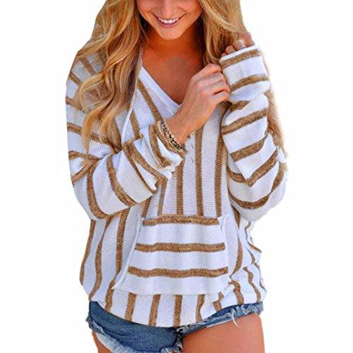 FUNIC Womens Hoodie, Striped Long Sleeve Jumper Sweater Ladies Loose Casual Knitwear Tops (XL, Khaki)