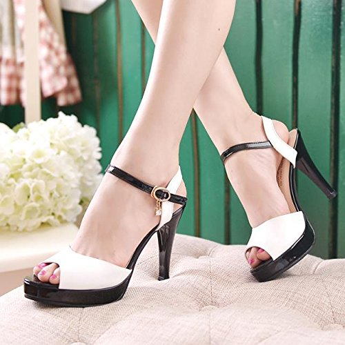 SHOESHAOGE Taiwan Étanches Princesse Épais Avec High-Heeled Chaussures Avec Air Bag Latéral Fine Bouche Poisson Vidéo Sandales Femme Ol EU34 5yEHT9P1w8