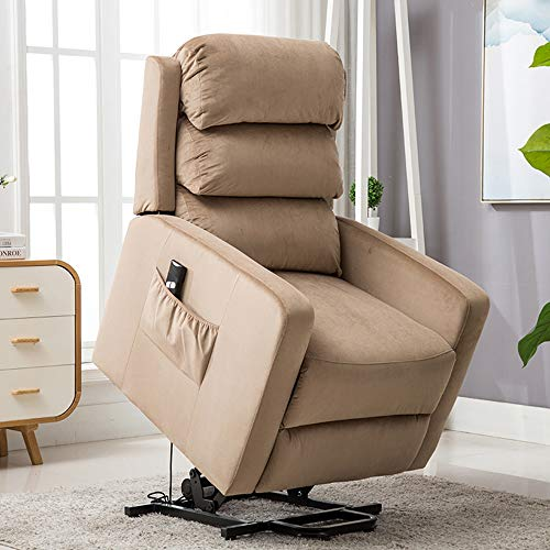 BONZY HOME Power Lift Recliner, Wired Controller as Gift for Elderly Chair Comfortable and Functional for Sleeping,Reading,Watching TV in Living Room and Bedroom(Light Brown)