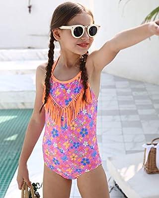 DUSISHIDAN Girls Halter Beach Sport 1-Piece Swimsuit Bathing Suit with Side Ties