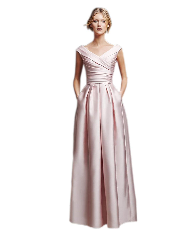 Ikerenwedding Women's V-Neck V-Back Ruffle Long Column Satin Prom Gown with Pocket