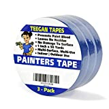 Painters Tape, 3-Pack, 1 Inch x 50 Yards, Leaves No Residue, Prevents Paint Bleed, Wall Safe, Excellent Quality Multi-Pack.