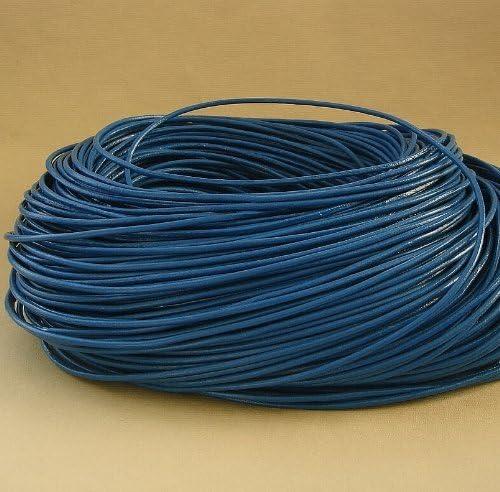 BeadsTreasure 15 Ft of Dodge Blue Genuine Leather Cord Round 2 mm Diameter.